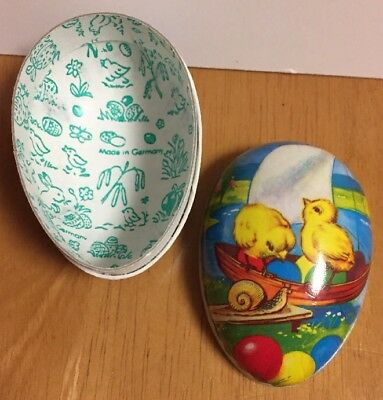 "Vintage Cardboard Paper Mache 3.5"" Egg Candy Container Chick Boat Made Germany"