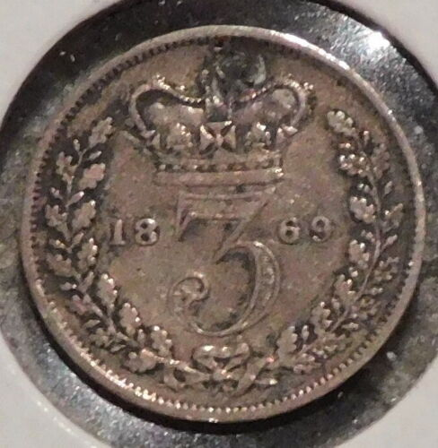 British Silver Threepence - 1869 Holed - Queen Victoria - $1 Unlimited Shipping
