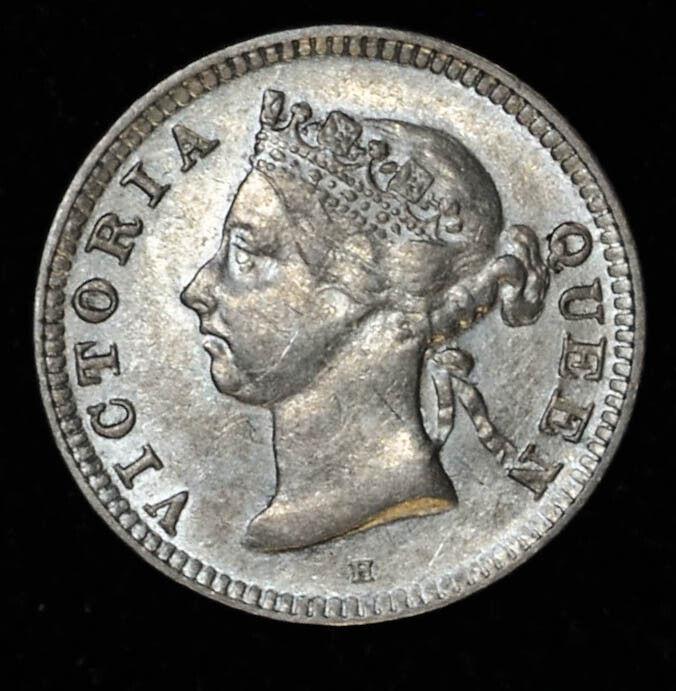 Straits Settlements 5 Cents 1890 H UNC/BU silver KM#10 British Colony Victoria