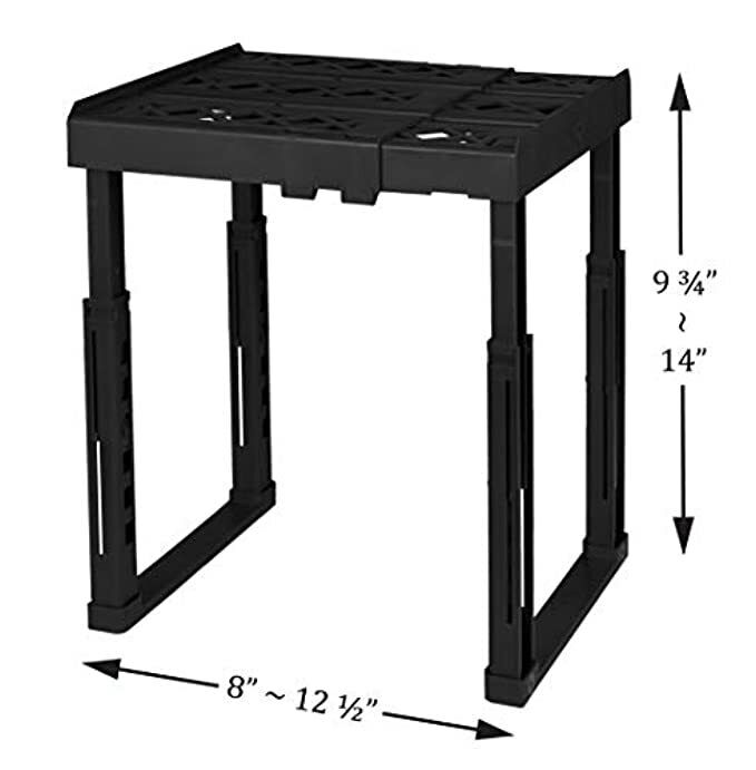 Tools for School Locker Shelf, Adjustable, Stackable and Heavy Duty (Black)