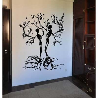 Halloween Tree Wall Art (Tree skeletons Halloween Wall Art Sticker Decal Black)