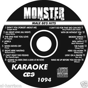 KARAOKE MONSTER HITS CD+G MALE 80's HITS  #1094