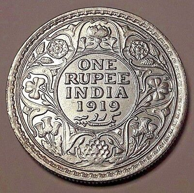 1919 India British One Rupee  George V Antique Collectible Coin Silver SUP !!!