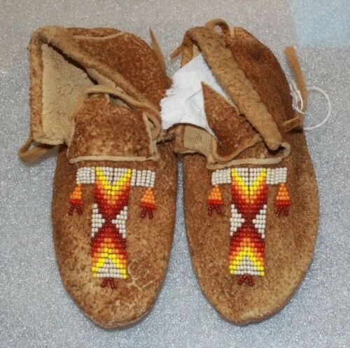 "NEW NATIVE AMERICAN BEADED BRAIN TANNED LEATHER MOCCASINS 6 1/2"" FREE SHIPPING"