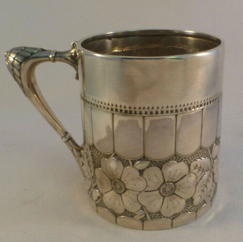 """Great JB Knowles Large Floral Decorated Cup- 3 5/8"""""""