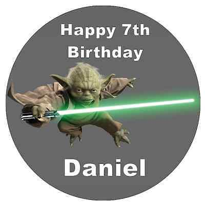 """Star Wars Yoda Cake Topper Personalised 7.5"""" Edible Wafer Paper"""