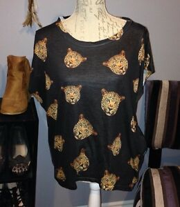 Size Large Leopard Print Black Loose Top with Rhinestones