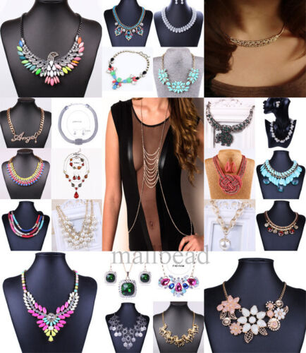 Women-Fashion-Crystal-Collar-Charm-Choker-Chunky-Statement-Bib-Necklace-Jewlery