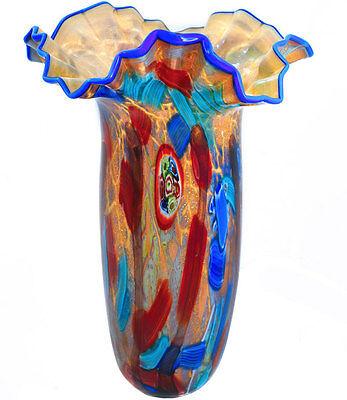 1-A GLASOBJEKT ca.46cm MURANO STIL Vasengefäß ital. DESIGN 'LIBELLULA' GLAS VASE
