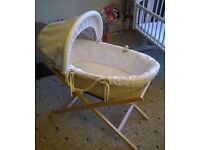 Mama and papa Moses basket with hood and wooden stand