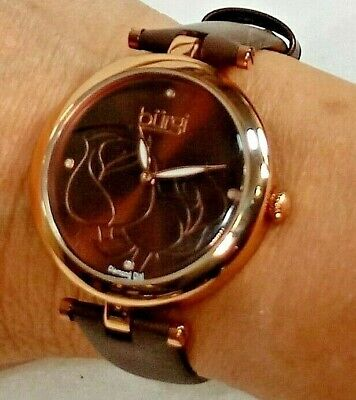 NWOT Women's Burgi BUR128BR BRN Etched Flowers & Diamond Dial Watch New Battery