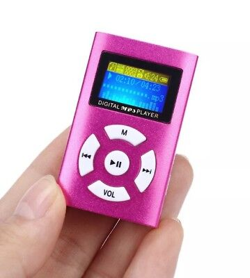USB Mini MP3 Player LCD Screen Support Up To 32GB Micro SD TF Card PINK