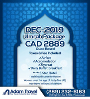 Umrah December 2018 Package - CAD 2889/- All Taxes & Fee Include