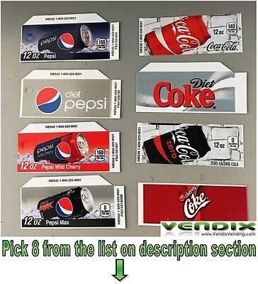 Pick 1 Flavor Tab Strips Soda Label Coke Pepsi Vending Machine Vendo Dixie Narco
