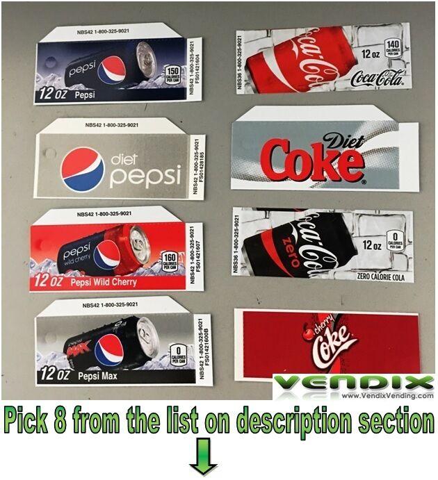 PICK 8 Flavor Tab Strips soda label Coke Pepsi vending machine Vendo Dixie Narco