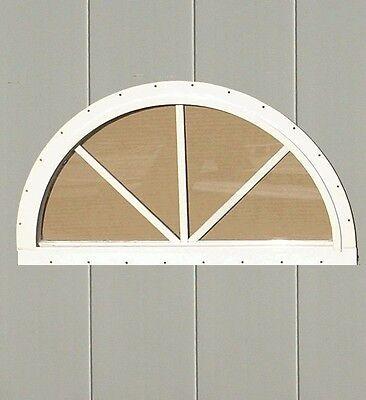 (SUNBURST HALF ROUND SHED WINDOW PLAYHOUSE BARN GARAGE BUILDING  GLASS 14