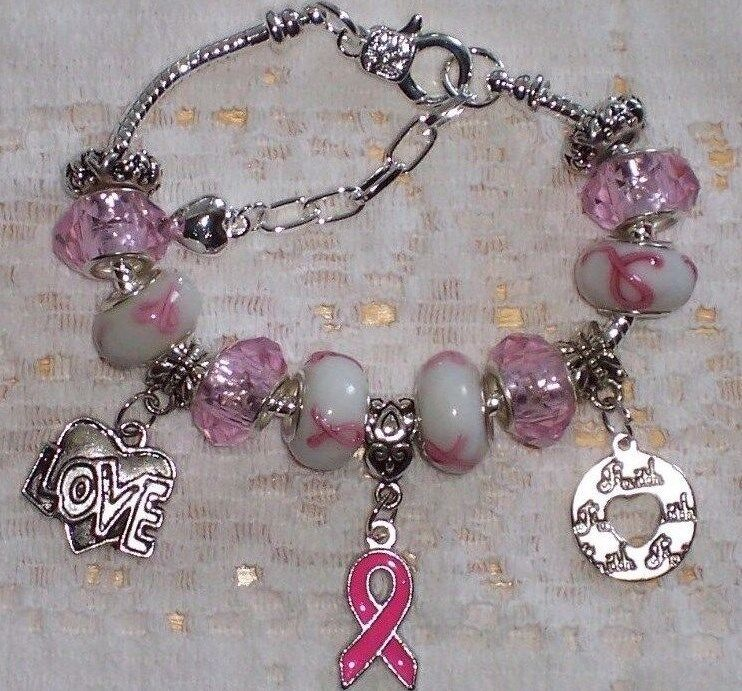 Breast Cancer Awareness European Style Murano Beads,Pink Facets,Ribbon Bracelet
