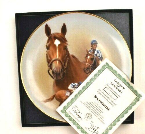 "Fred Stone Plate SECRETARIAT Ron Turcotte Ltd Ed Gold Rim COA Large 10"" Vtg"