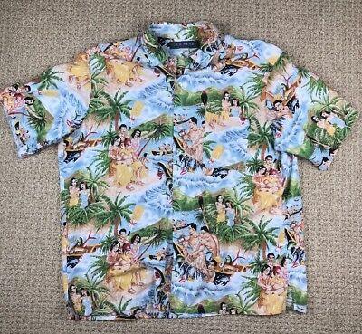 Mens N.E. Wear Sanfransico Hawaian Button Up Short Sleeve Shirt Size L - Hawaian Shirt