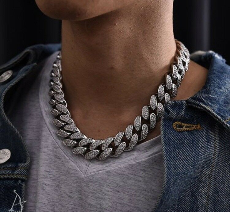 "Iced out Cuban link 19mm 22"" choker silver"