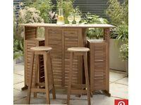 Hardwood folding bar & stools