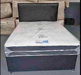 Sale On Peak !! Double Divan Bed With Headboard & Mattress !! Fast Delivery