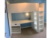 High Bed with built in Desk and Two Wardrobes
