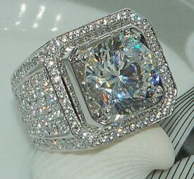 18K White Gold Silver Iced ring