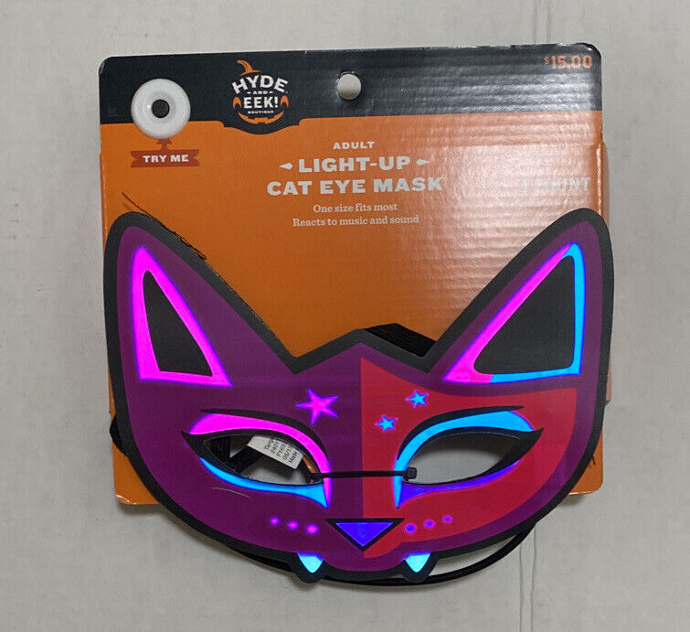 Hyde and Eek! Boutique Halloween Adult Masquerade Cat Eye Light Up Mask