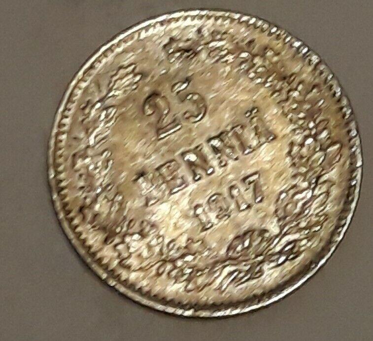 1917 Finland 25 Pennia, 75% Silver, Nicholas II