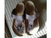 Brow leather birkenstock size 8 mens
