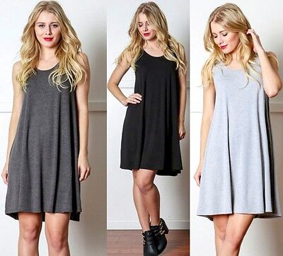 A Line Flared Solid Trapeze Sleeveless Loose Fit Relax T Shirt Top Tunic Dress