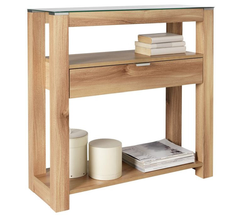 Hygena Cubic Console Table - Oak Finish