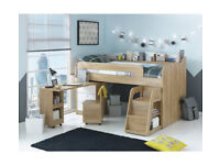 Collection Ultimate Storage Midsleeper Bed - Wood Effect