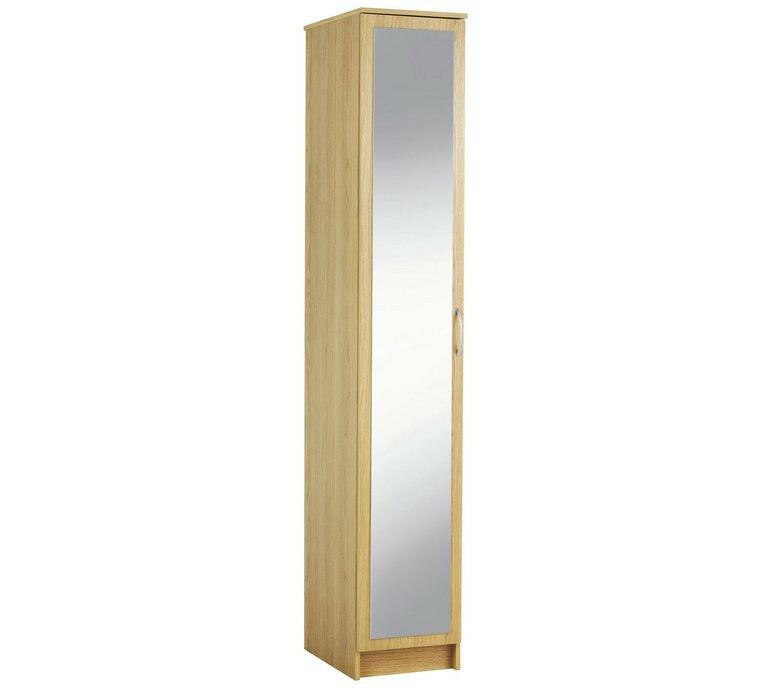Cheval Single Mirrored Wardrobe - Oak Effect
