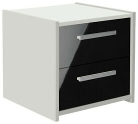 New Sywell 2 Drawer Bedside Chest - White & White Gloss