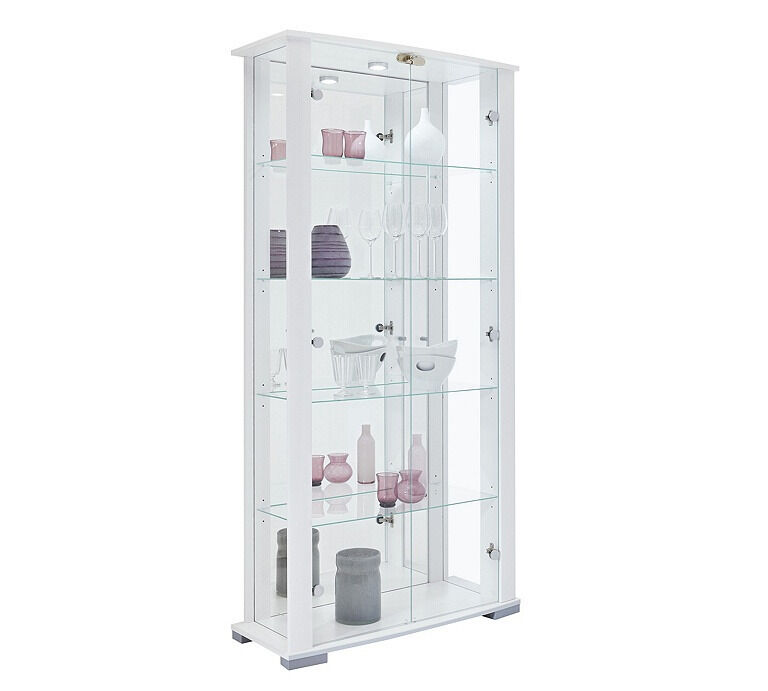 Stella 2 Glass Door Display Cabinet - White Gloss