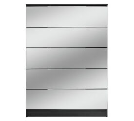 Fully assembled Sandon 5 Drawer Chest - Black and Mirrored