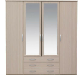 Collection New Hallingford 4 Dr 3 Drw Mirror Robe-Light Oak