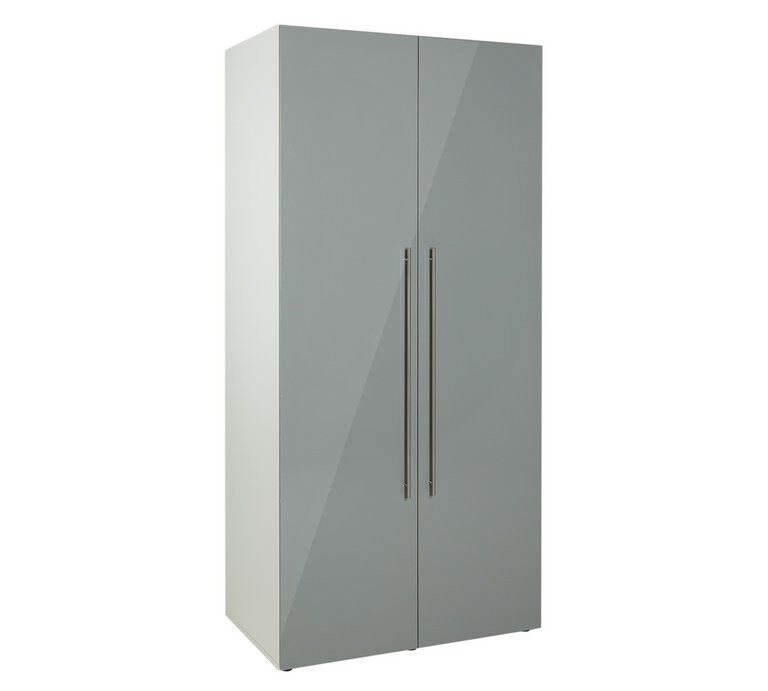 Hygena Atlas 2 Door Wardrobe - Grey Gloss