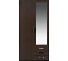 New Hallingford 2 Door 3 Drawer Mirrored Wardrobe - Wenge