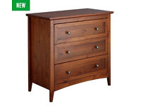 Camborne 3 Drawer Chest - Walnut Stain