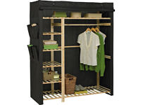 HOME Polycotton and Pine Triple Wardrobe - Black