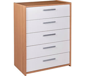 HOME New Sywell 5 Drawer Chest - Oak Effect & White