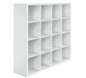 Hygena Squares Plus 16 Cube Storage Unit - White Gloss