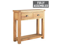 Fully assembled Heart of House Kent 2 Drawer Console Table-Oak & Oak Veneer