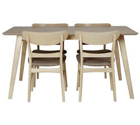 Heart of House Afina Dining Table and 4 Chairs - Oak Veneer