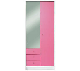 Kids New Malibu 2Dr 3 Drw Mirror Wardrobe - Pink /White