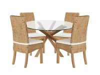 Home of Style Abbotsley Dining Table with 4 Rattan Chairs