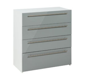 Hygena Atlas 4 Drawer Chest - Grey Gloss